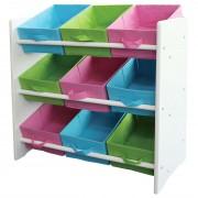 Buntes Kinderregal Regal für Kinder, Holz, 9 Ablageflächer, mit Boxen