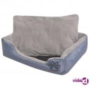 vidaXL Krevet za pse s podstavljenim jastukom veličina XL sivi