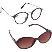 Aligatorr Combo Of 2 Cat Eye Oval Unisex Sunglasses ldy brnovalwtCRLK