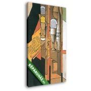 Juan Gris: Poharak, újság és boros üveg (20x30 cm, Vászonkép )