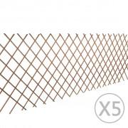 vidaXL Gard delimitator armonica din lemn de salcie 90 x 180 cm, 5 buc