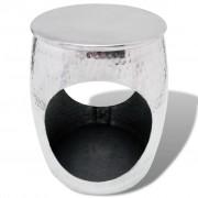 vidaXL Scaun/Masă laterală în formă de butoi, aluminiu, argintiu