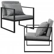 [en.casa]® Design fotelja - set od 2 komad - 70 x 60cm - tamno sivo