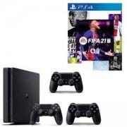 Конзола PlayStation 4 Slim 500GB Black, Sony PS4 + ИГРА Electronic Arts FIFA 21 (PS4) + 2 X Геймпад - Sony PlayStation DualShock 4 Wireless, версия 2 , черен Black
