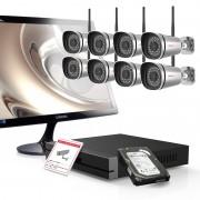 Kit videosorveglianza 1080P Foscam Hd con NVR 9CH e 8 cam da esterno e monitor