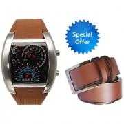 Jack Klein Brown Speed Meter Style Digital LED Light Watch And Brown Belt