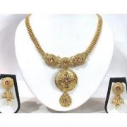 Golden Stone Square Pendant Necklace Set