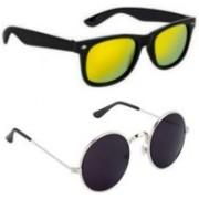 Pari & Prince Wayfarer, Round Sunglasses(Yellow, Black)
