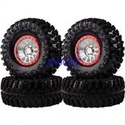 "Generic 2022-3021 Aluminum 12-Spokes Beadlock 2.2"" Wheel Rim & Super Swamper Rocks Tyre 125mm 4pcs for RC 1/10 Climbing Rock Crawler Silver-Red"