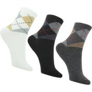 Neska Moda 3 Pair Men Formal Solid Free Size Cotton Crew Length Socks Grey White Black