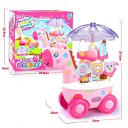 Watermelon Simulation Small Carts Girl Mini Candy Cart Ice Cream Shop Supermarket Children's Toys Playing Home Baby Toys with Light Music