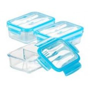 Rosenstein & Söhne 3 boîtes de conservation -20 °C à 520 °C en verre 2 compartiments avec couverts
