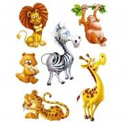 Geen 6x Raamstickers jungle dieren raamdecoratie