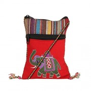 ATLED Red Cotton Casual Passport Sling Bag For Women