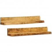 vidaXL Etajeră din lemn masiv cu montare pe perete, 2 buc