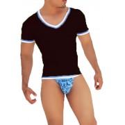 Icker Sea Contrast Trim V Neck Short Sleeved T Shirt Black/Blue CA-16-31