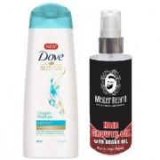 MISTER BEARD ARGAN HAIR OIL WITH DOVE OXYGEN MOISTURE SHAMPOO 180ML