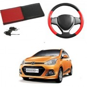 Millionaro Art-Leather Red Black Breathable Hand Stitched Steering Cover for Hyundai Grand I10 with Needle