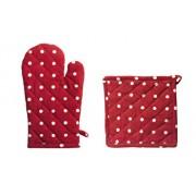 Set bucatarie 2 piese (manusa de bucatarie 18x30 cm + suport oala 20x20 cm), Heinner, HR-KS2-RED01, 100 procente bumbac