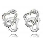 Swarovski kristályos fülbevaló Szívben Szív ezüst szinű