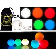 5x Pro Led Glow Juggling Balls Ultra Bright Mix Colors Battery Powered Glow Led Juggling Ball Set Of 5 With Drawstring Travel Bag!
