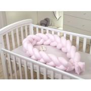 Protectie laterala patut bebe Bumper impletit Inchidere Velcro Bumbac Pink 210 cm