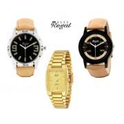 Mark Regal 2 Brown Leather Strap+1 Golden Metel Men's Watches Combo Of 3