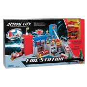 Action City Fire Station with Five Die -Cast Vehicles