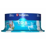 CD-R Verbatim AZO 52X 700MB 25PK SPINDLE WIDE INKJET PRINTABLE ID BRANDED (43439)