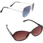 Criba Cat-eye, Aviator Sunglasses(Brown, Blue)