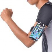 TFY Open-face Sport Armband + Key Holder for iPhone 5/5S & iPhone 6 / 6S Grey - (Open-face Design - Direct Access to Touch Screen Controls)