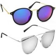 Elgator Cat-eye, Aviator Sunglasses(Blue, Silver)