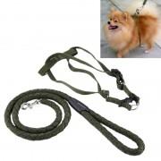 Groene leger huisdieren Harness Training Lead leiband tractie hond veiligheid Chain touw touw Diameter: 1.2 cm terug bandbreedte: 1.5 cm lengte van het touw: 1.1 m