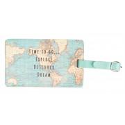 wereld kado - Bagagelabel - met vintage wereldkaart   Sass & Belle