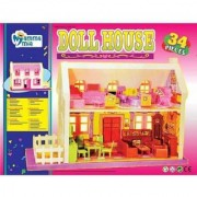 Doll House Play Set Doll House With Master Bedroom Dining Room Living Room Bath Room Infant Room 34 Pieces
