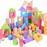 Set piese constructie din spuma Multicolor + lemn 100 de piese XL