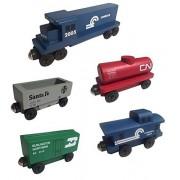 Conrail RAILWAY GP-38 Diesel 5pc. Set - Wooden Toy Train by Whittle Shortline Railroad - Manufacturer