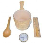 vidaXL Kit para sauna balde colher ampulheta termometro / higrometro 5 pcs