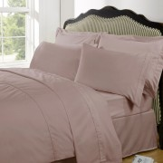 Highams 100% Egyptian Cotton Plain Dyed Bedding Set - Vintage Pink [China Sizing Only] - Small/150x200cm - Pink