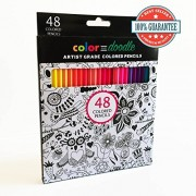 Colored Pencils For Adults & Kids Color And Doodle 48 Watercolor Color Pencils Professional Quality With Soft Lead And Vibrant Colors. Bonus: 2 Free Adult Coloring Books 100% Satisfaction Guarantee
