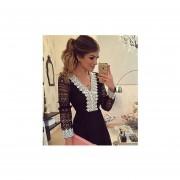 vestido de escote V estilo elegante de color negro con encaje