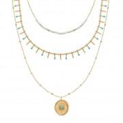 Siloé Collier multirangs médaille et pierres amazonite (doré), Siloé Siloé