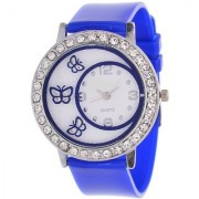 Glory Blue Diamond Fancy Letest Butterfly Print Collection Analog Watch - For Women