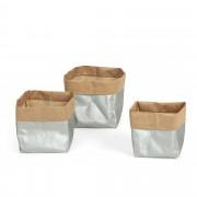 Kave Home Set Kamori de 3 cestas plata
