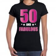 Bellatio Decorations 50 and fabulous / Sarah verjaardag cadeau t-shirt / shirt 50 jaar zwart voor dames