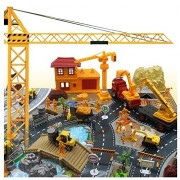 200 Pieces Aircraft Model Playset Airport Assembled Toys for Kids Gift Construction Site Worker Building Trucks Model (City)