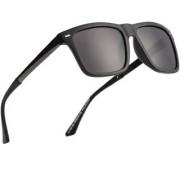 Royal Son Men Women Stylish Wayfarer Sunglasses (Black Retro Square Polarized Unisex Goggles)