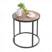 IDIMEX Table basse ronde JERICO, décor bois naturel