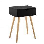 [en.casa]® Mesa auxiliar con un Cajón - 60 x 40 x 29,5 cm - Mesilla de noche - Mesita - Cómoda - Diseño - Negro