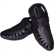Sukun Black Casual Loafer Sandal Shoes